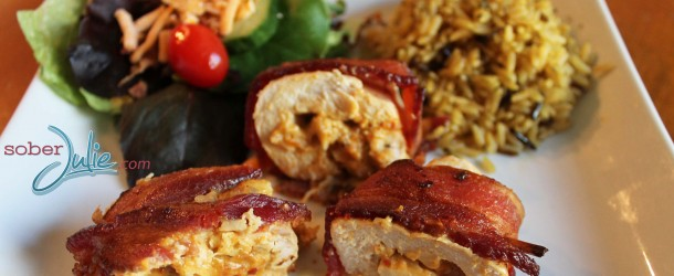 Bacon Wrapped Chicken Stuffed with Roasted Red pepper