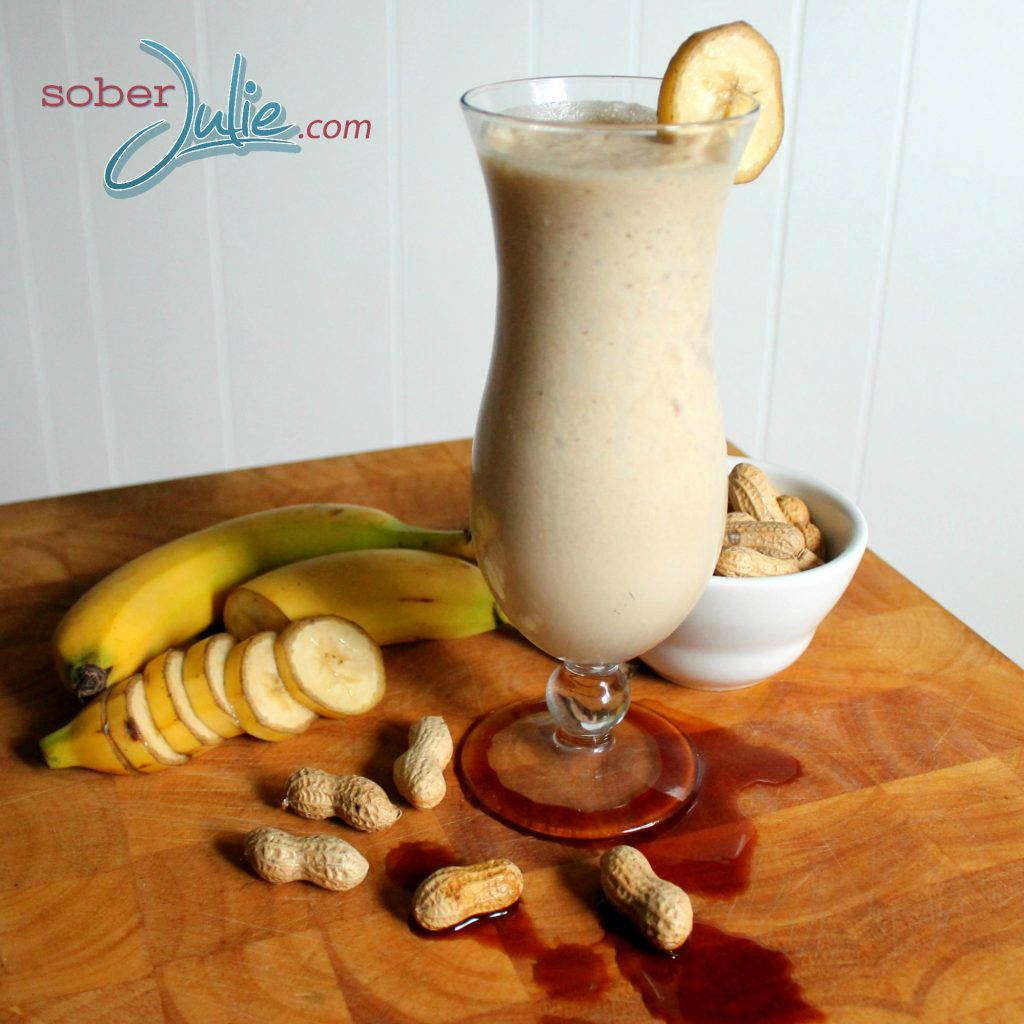 Banana Vanilla Peanut Butter Smoothie Recipe Side view WM