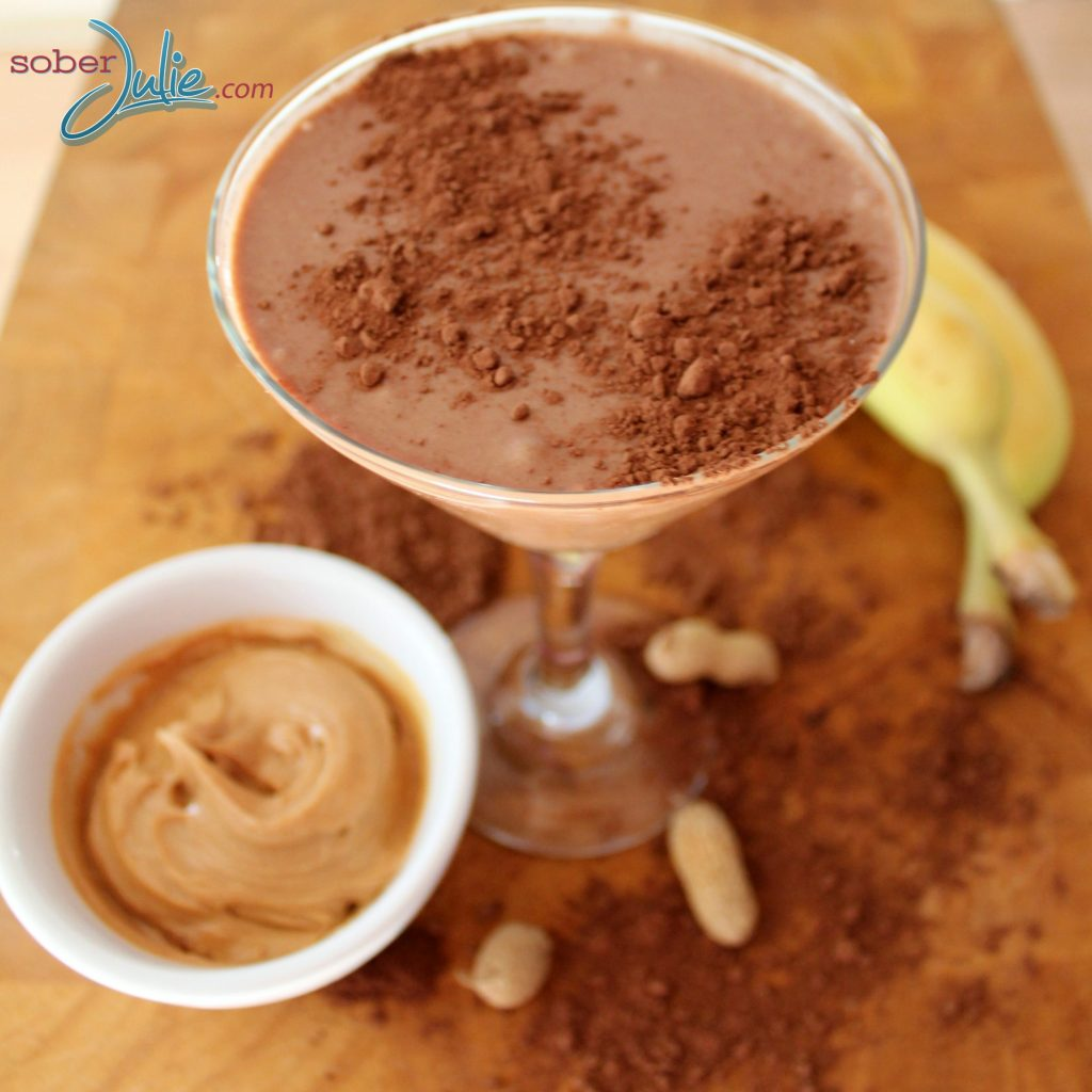 Cocoa Banana Peanut Butter Smoothie top view
