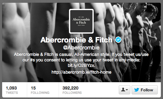 Abercrombie & Fitch isn't exactly reaching out to connect by following anyone