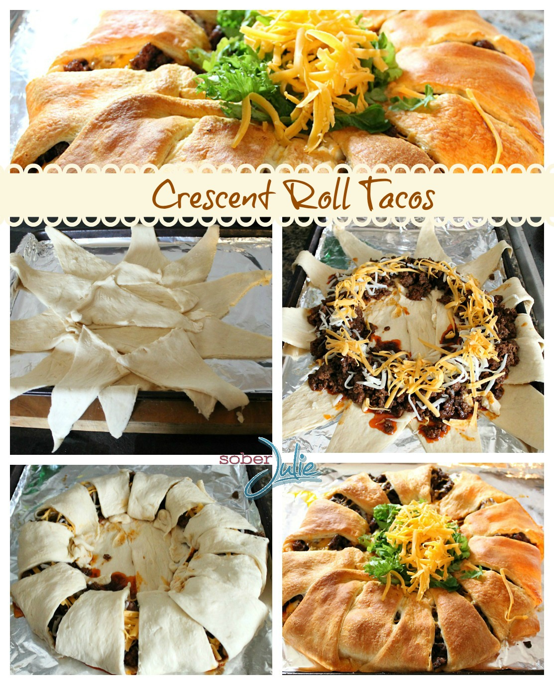 Crescent Roll Tacos recipe Collage