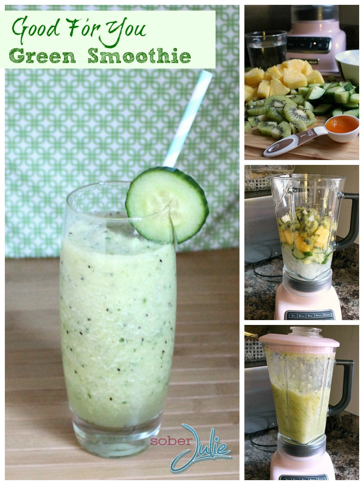 good for you green smoothie recipe collage