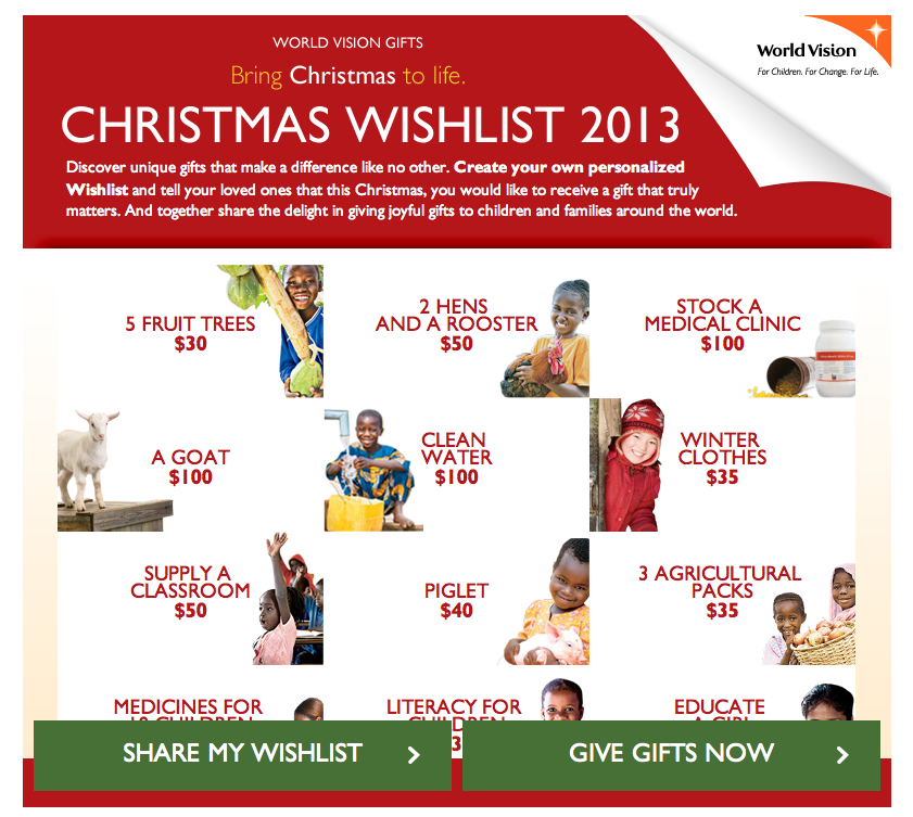 World vision holiday gift guide
