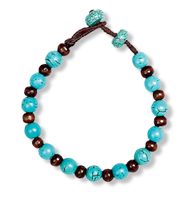 Turquoise and Wood bracelet Holiday Gift guide