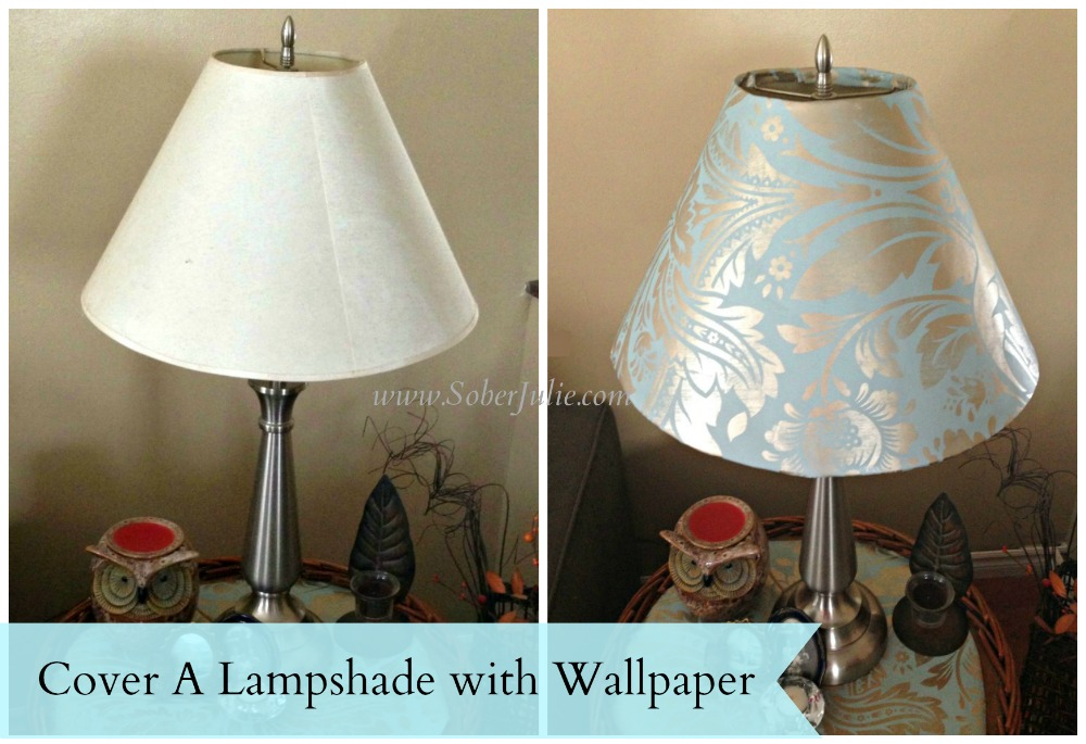 Cover a lampshade with wallpaper