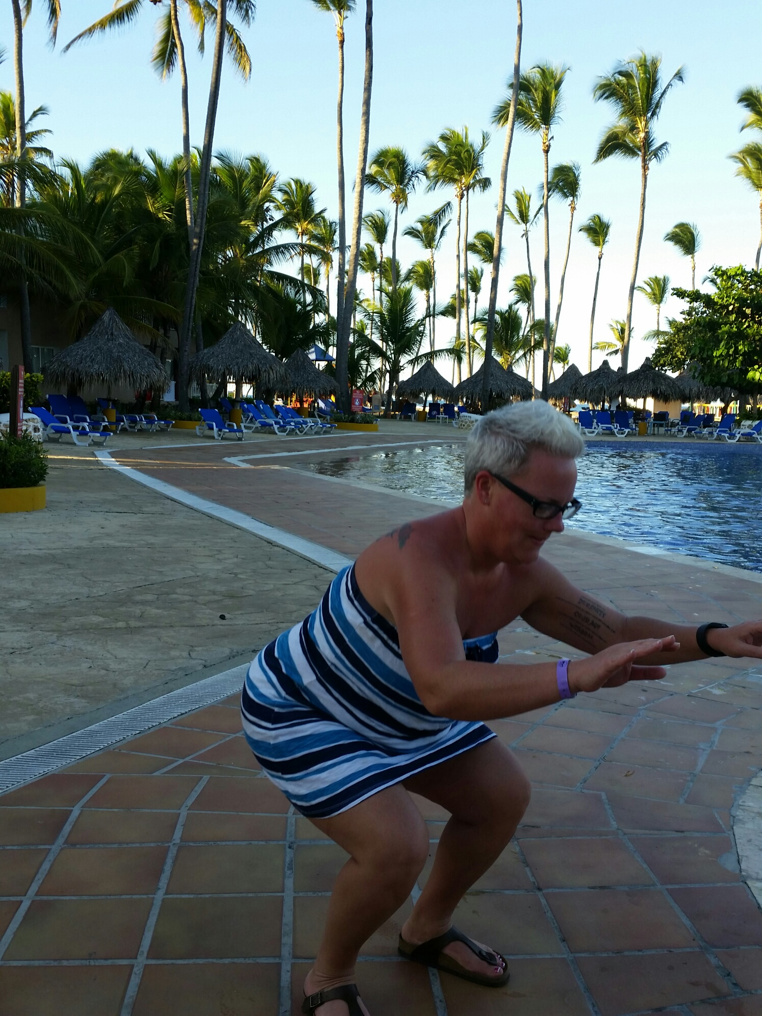 Squats by the pool in Punta Cana