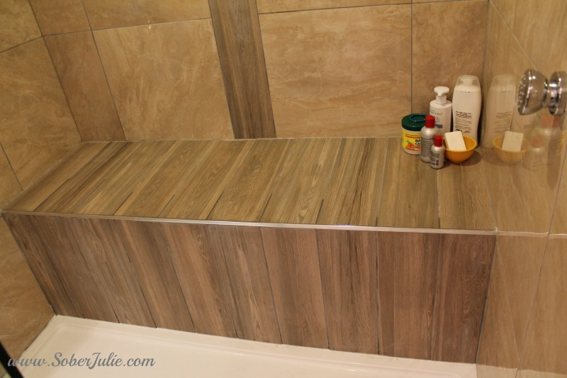 bathroom renovation reveal shower bench