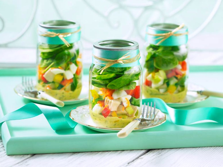 Chicken 'N Egg Cob Salad Jars recipe wide