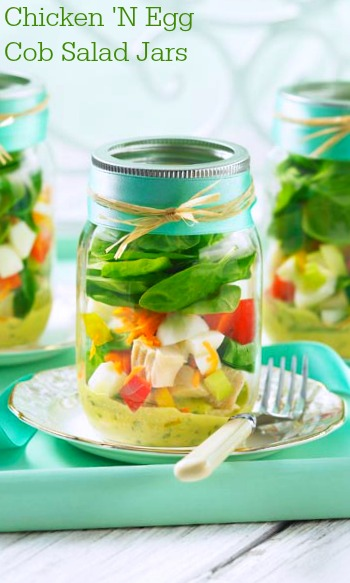 Chicken 'N Egg Cob Salad Jars recipe