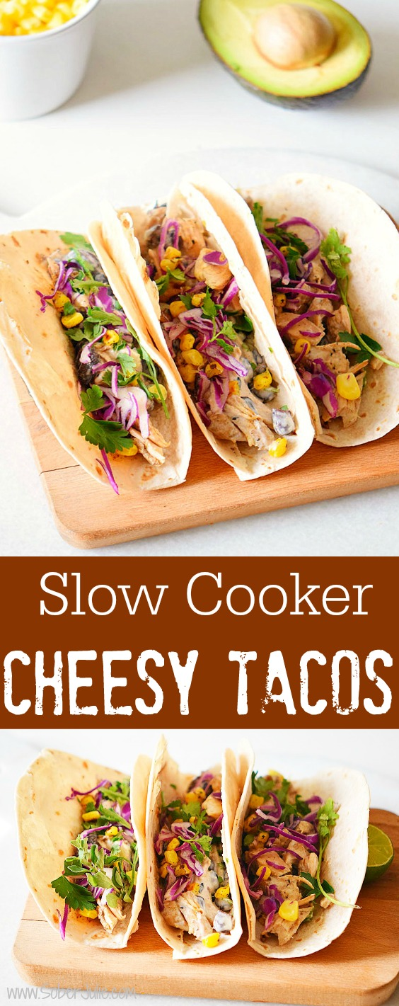 slow cooker cheesy tacos recipe soberjulie