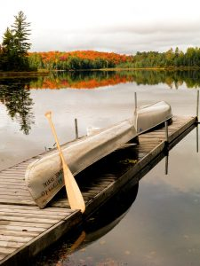 Canoes on a dock in Muskoka
