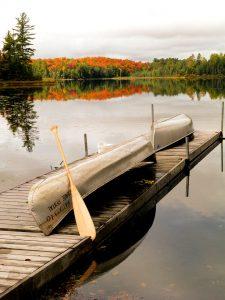 Canoes on a dock in Muskoka