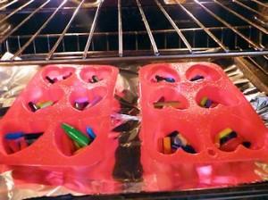 Valentine Crayon heart in oven