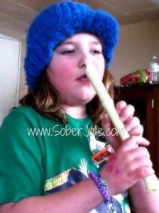 Motherhood Playing recorder