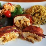 Easy Chicken Recipe – Bacon Wrapped Roasted Red Pepper Stuffed Chicken
