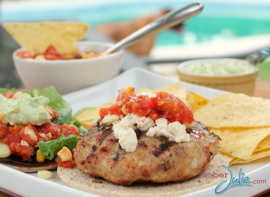 Chicken burger recipe on plate longWM