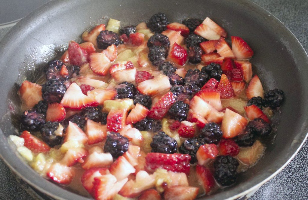 Berry Rhubarb Parfait Berries Simmering