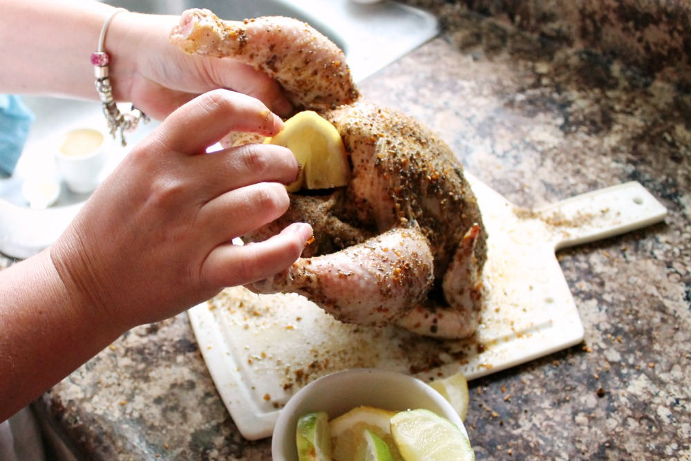 No Beer Can Chicken Stuff With Lemon- Easy Chicken Recipe @SoberJulie.com