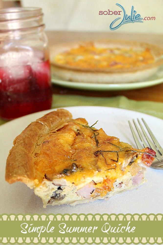 Simple Summer Quiche Recipe @SoberJulie.com