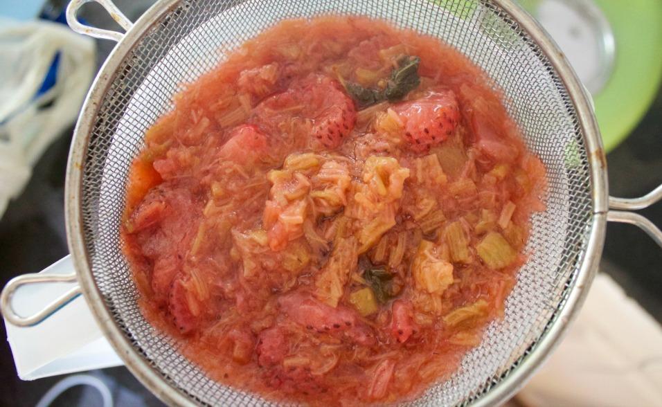 Strawberry Rhubarb Lemonade straining