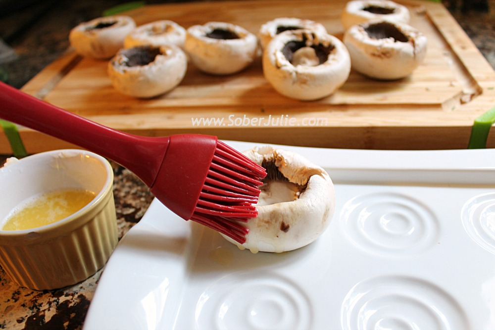 Stuffed Mushrooms Basting @SoberJulie.com