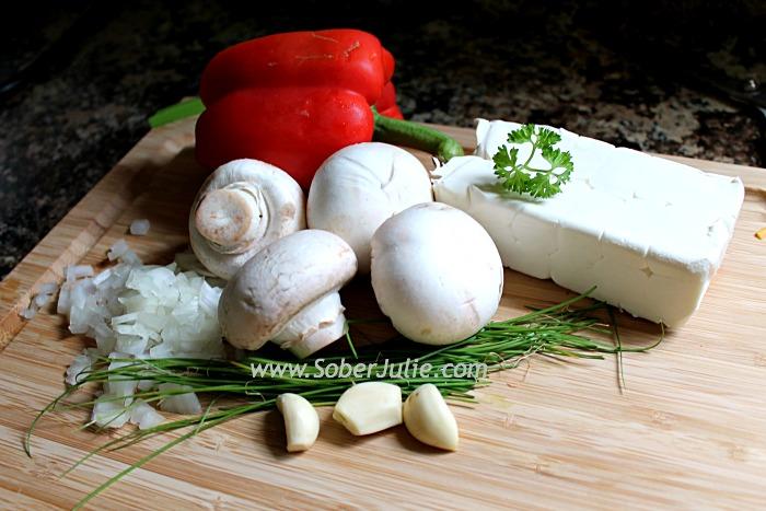 Stuffed Mushrooms Ingredients @SoberJulie.com