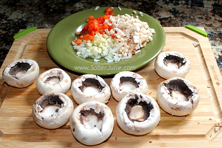 Stuffed Mushroom Caps Ingredients 2 @SoberJulie.com