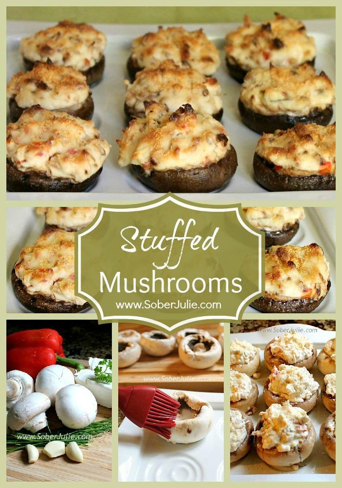 Stuffed Mushrooms Collage @SoberJulie.com #Appetizer #Recipe #StuffedMushrooms