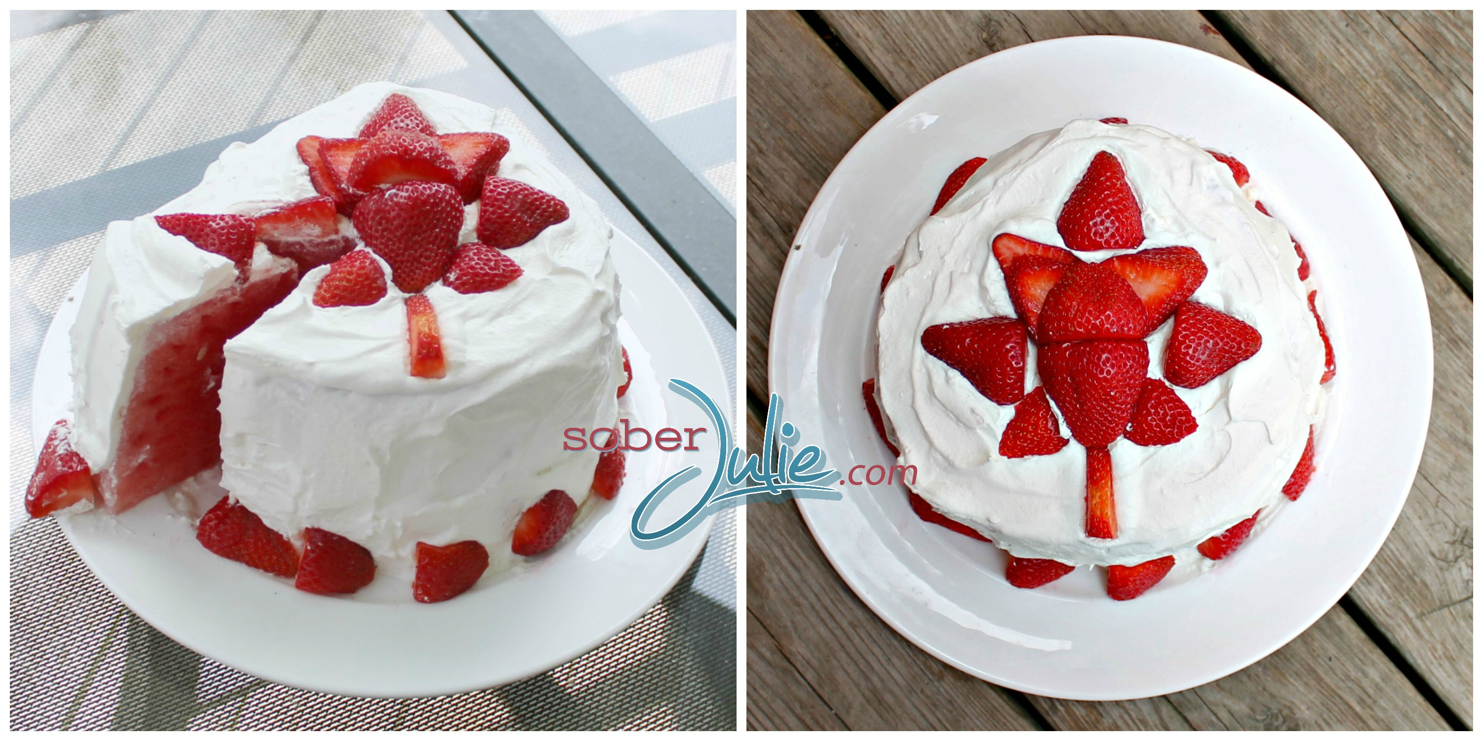 Watermelon Cake Canada DAy collage