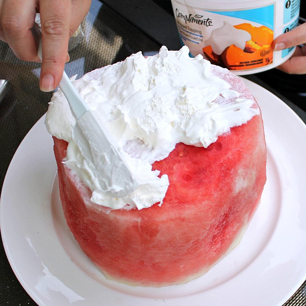 Watermelon Cake Putting On Ice Cream