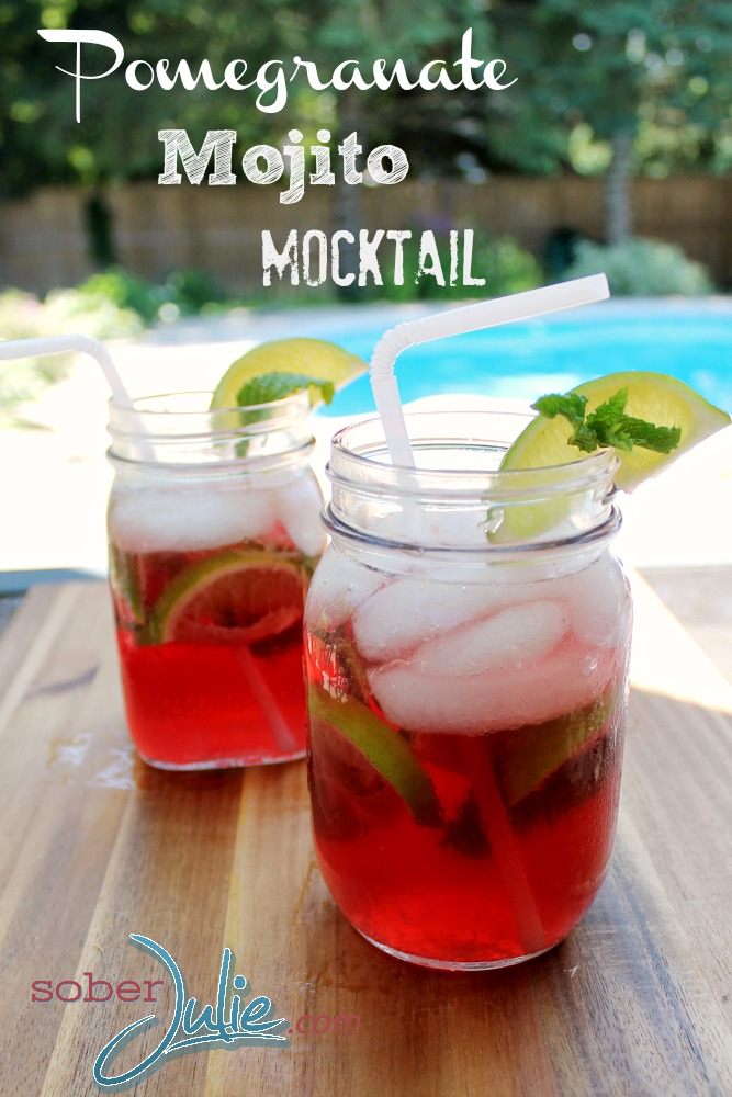 Pomegranate Mojito Mocktail Drink Recipe @SoberJulie.com