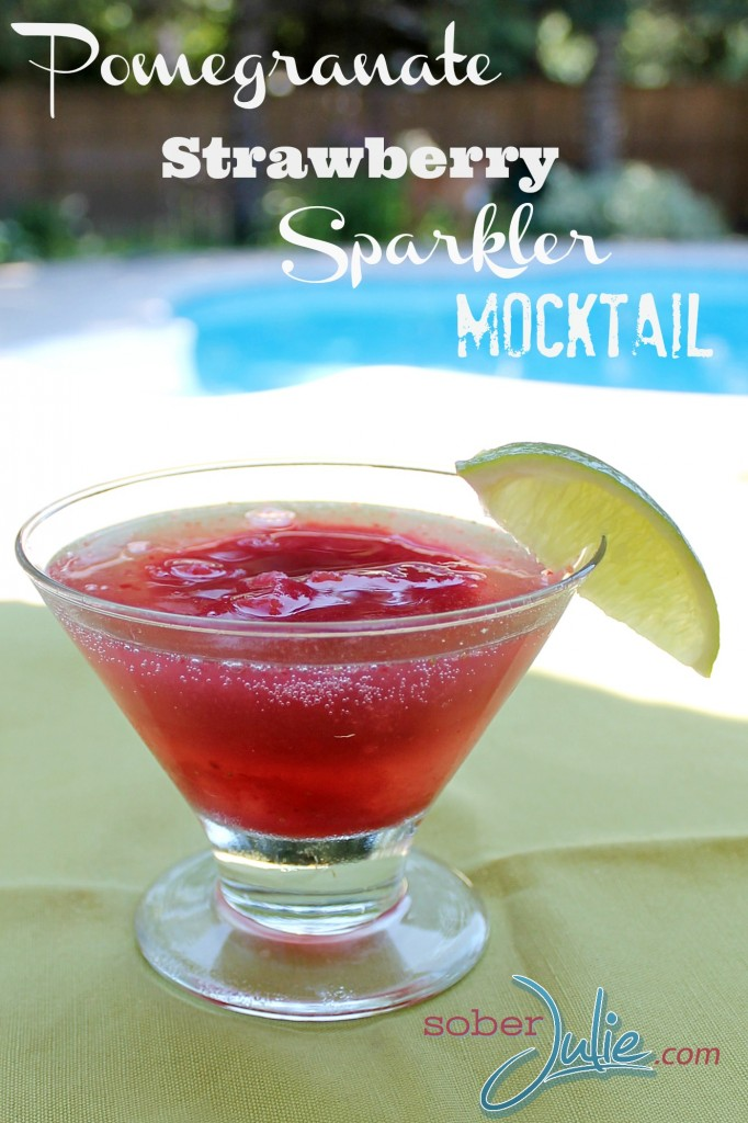 Pomegranate Strawberry Sparkler Drink Recipe @SoberJulie.com