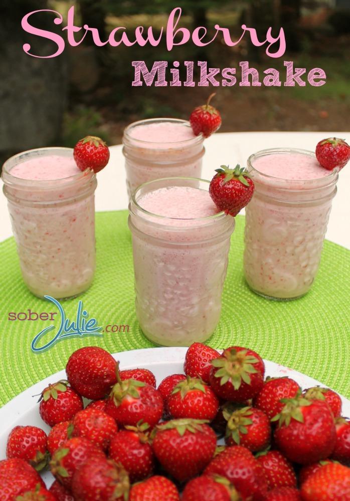 Strawberry Milkshake Recipe @SoberJulie.com