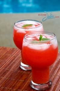 Strawberry-Rhubarb-Lemonade drink recipe @SoberJulie.com