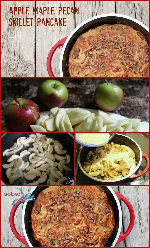 Apple Maple Pecan Skillet Pancake Collage