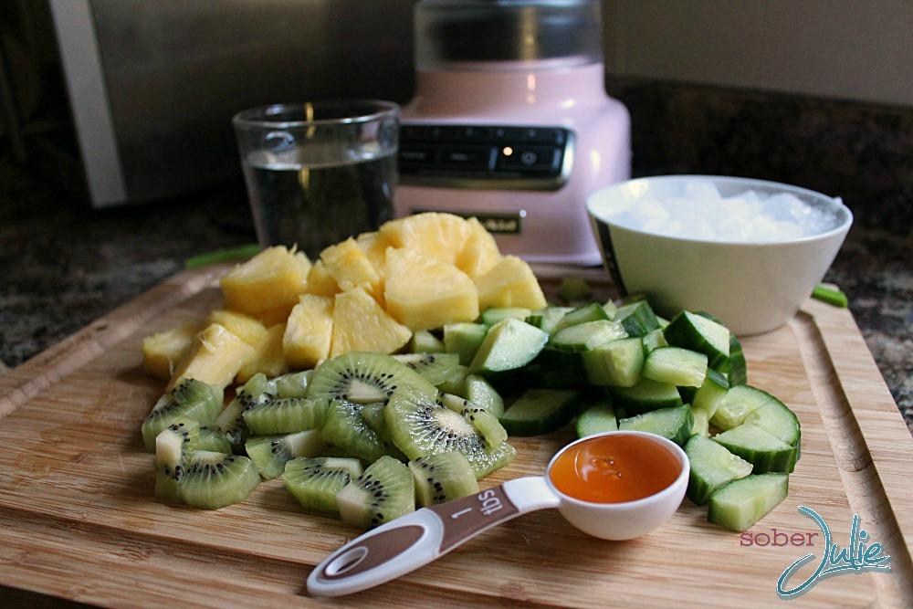 green smoothie recipe ingredients close up WM