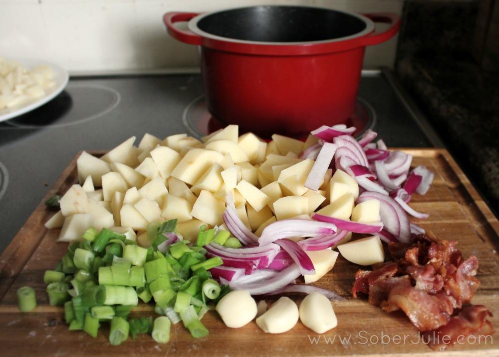 Cream of Potato Bacon soup recipe ingredients