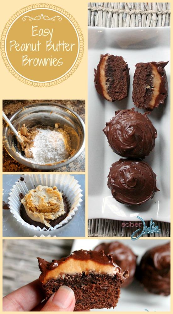 Peanut Butter Brownie Recipe @SoberJulie.com #recipe
