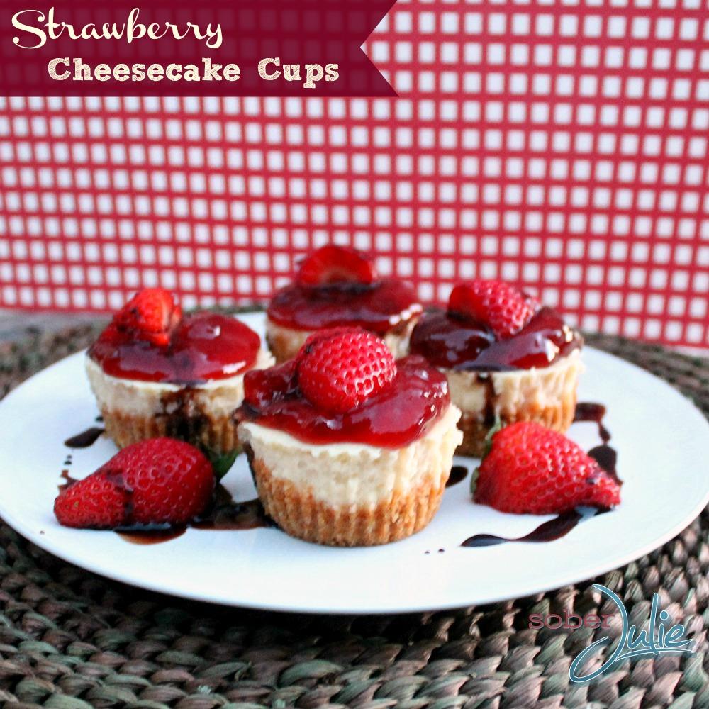 Strawberry Cheesecake Cups Recipe @SoberJulie.com #EggItForward