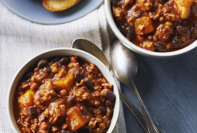 chicken chilli with pumpkin and chocolate
