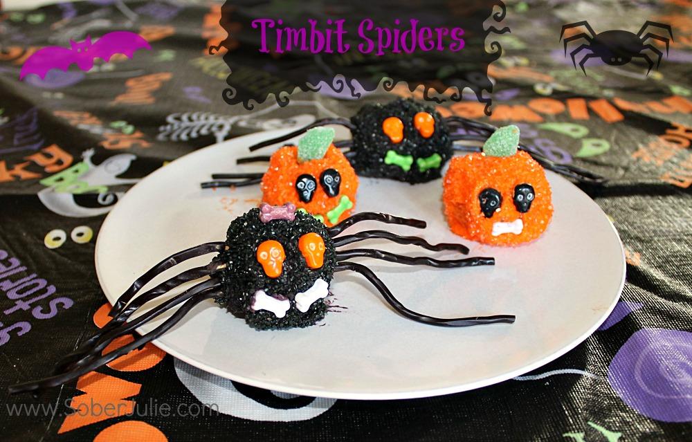 easy halloween dessert timbit spiders