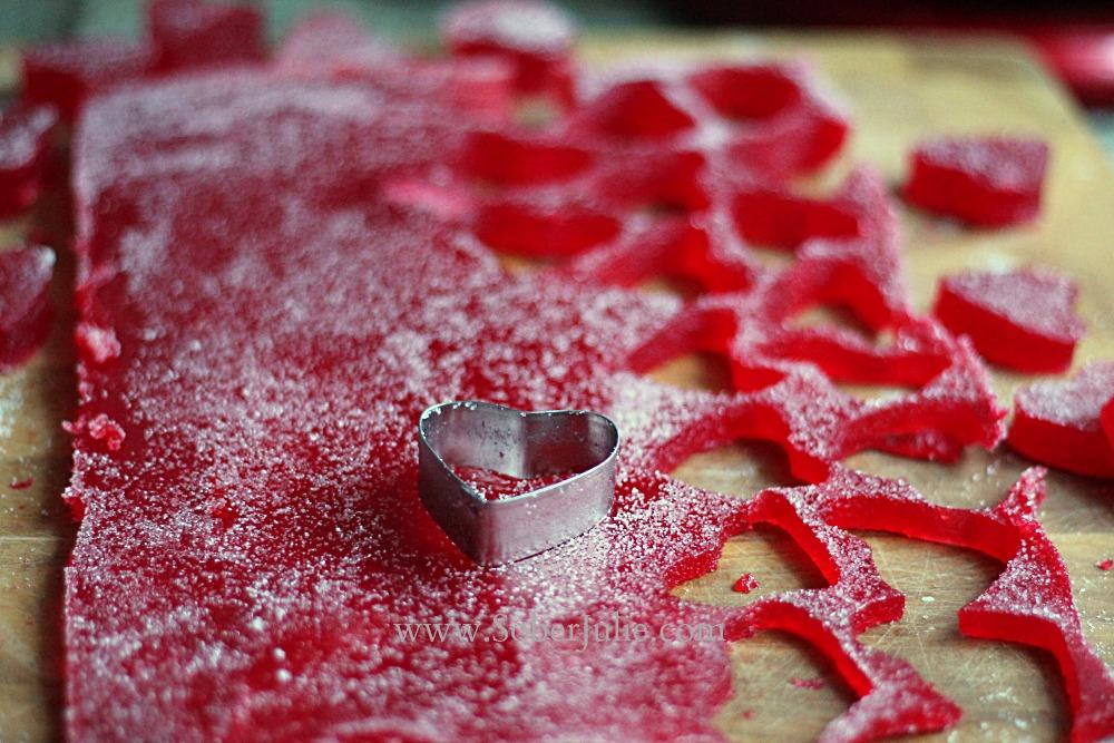 Strawberry Gumdrop Hearts Recipe cutting