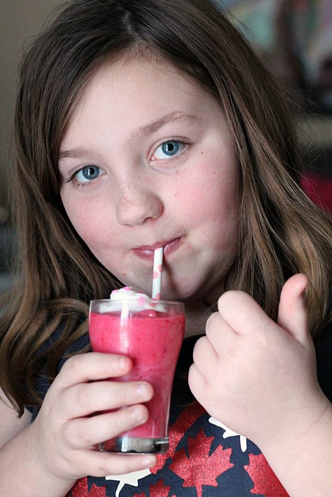 Sydney enjoying Milkshake