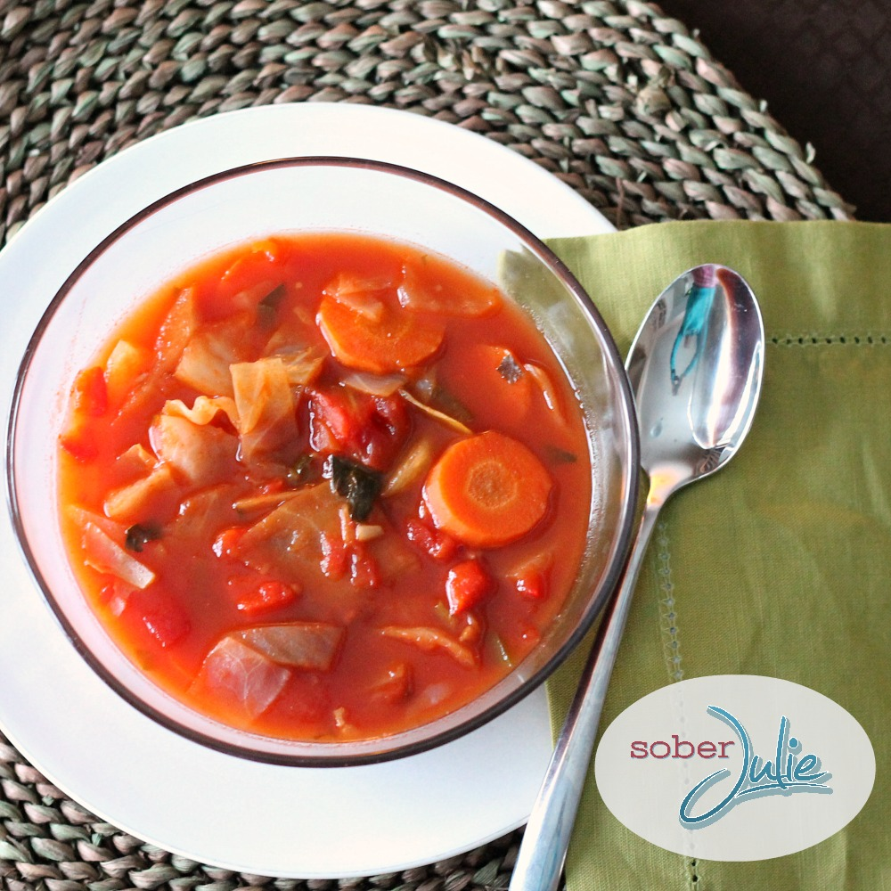 cabbage soup recipe in bowl from above
