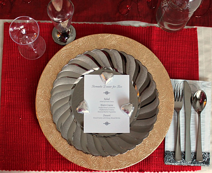 romantic table setting for 1