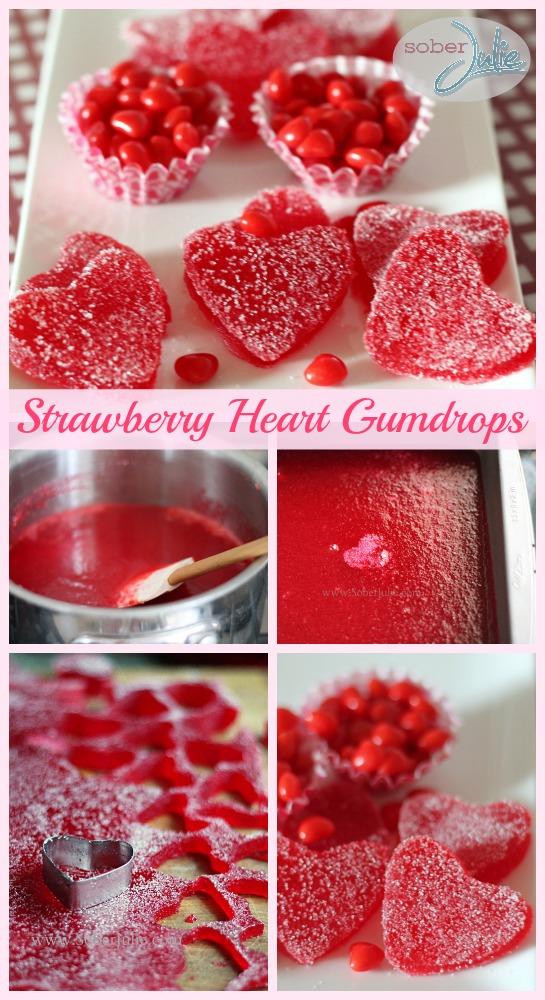 strawberry heart gumdrops recipe collage