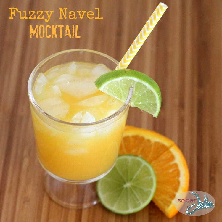 fuzzy navel mocktail recipe @SoberJulie