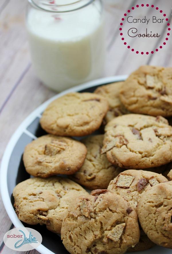 Candy Bar Cookies @SoberJulie text