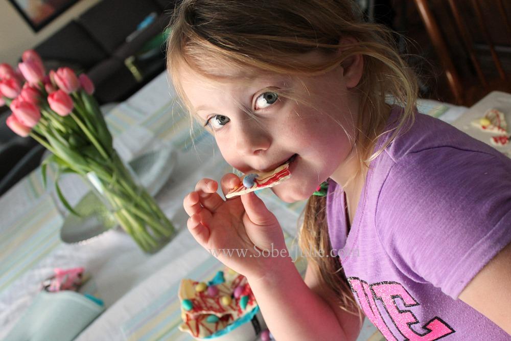 Chelsea eating Easter Chocolate Bark