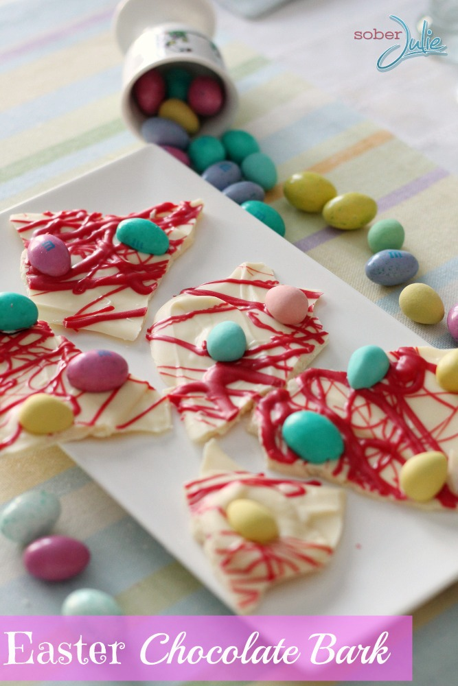 Easter Chocolate Bark scattered